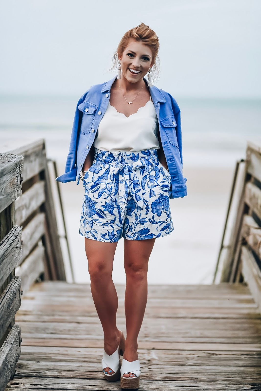 Blue Hues: Under $50 Blue Denim Jacket + Under $20 Blue & White Paper Waist Shorts  - Something Delightful Blog - Style for Women and Kids