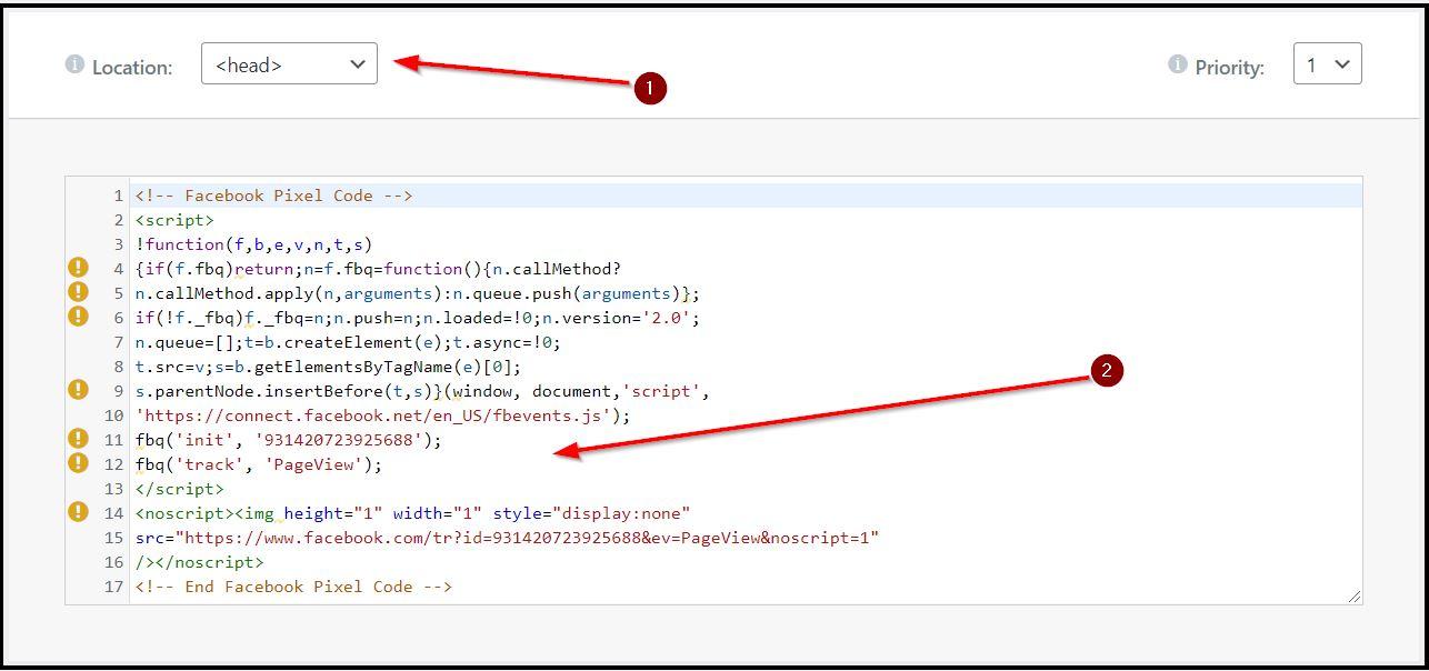 contoh penyematan kode fb pixel di head