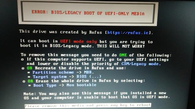 Cara Pertama Mengatasi Error: BIOS/Legacy Boot of UEFI-Only Media