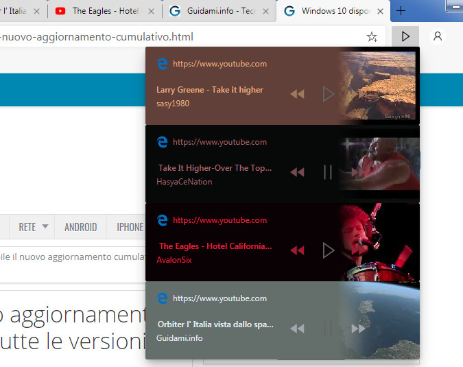 Global Media Controls Controlli multimediali Microsoft Edge Chromium