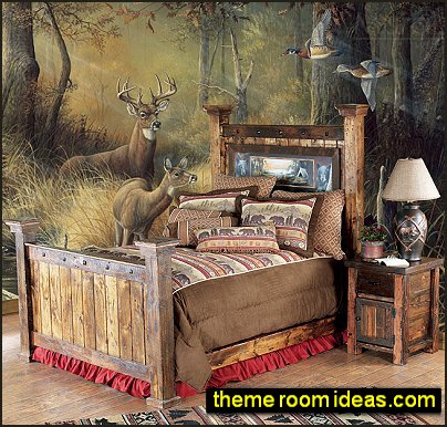 hunting bedroom rustic style log cabin in the woods bedroom ideas forest mural bear decor
