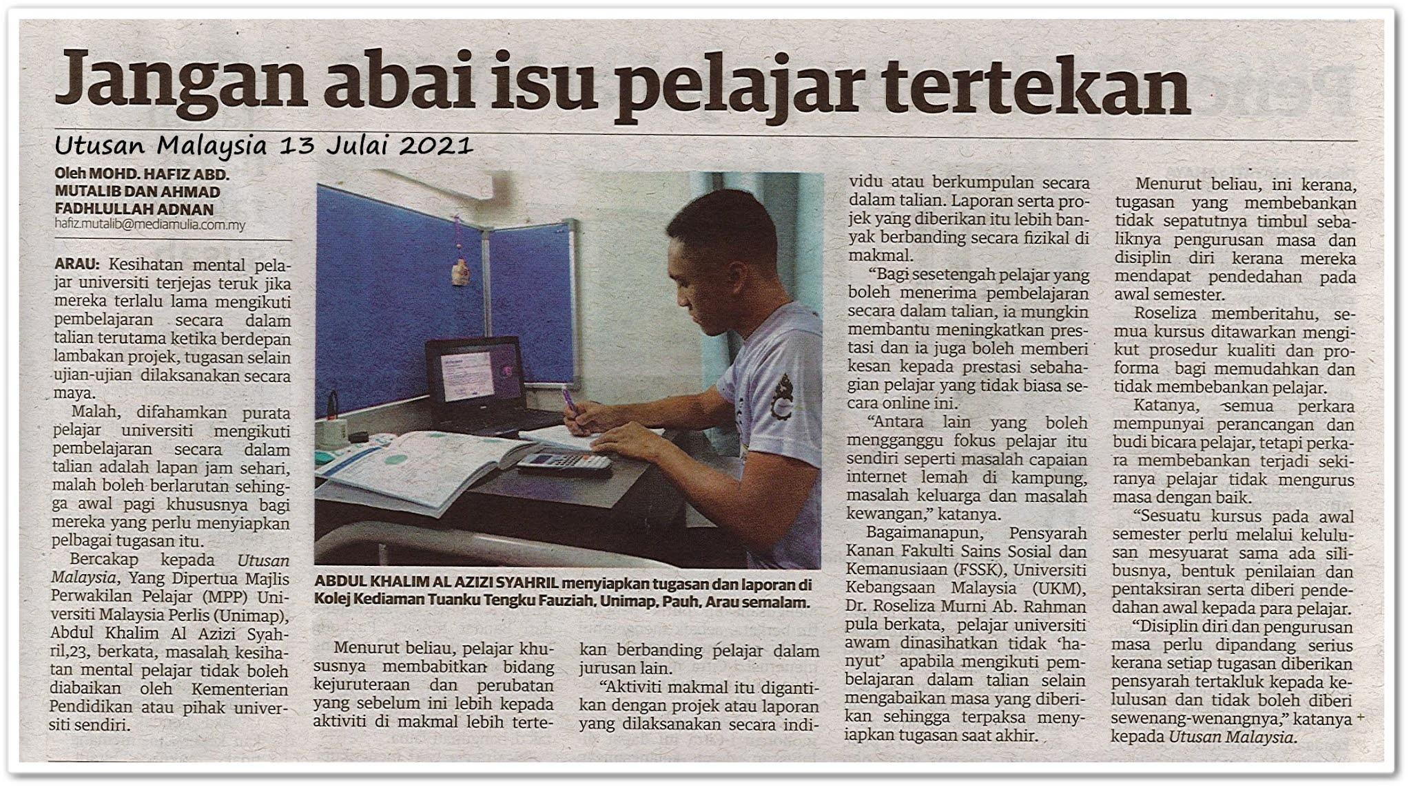 Jangan abai isu pelajar tertekan - Keratan akhbar Utusan Malaysia 13 Julai 2021