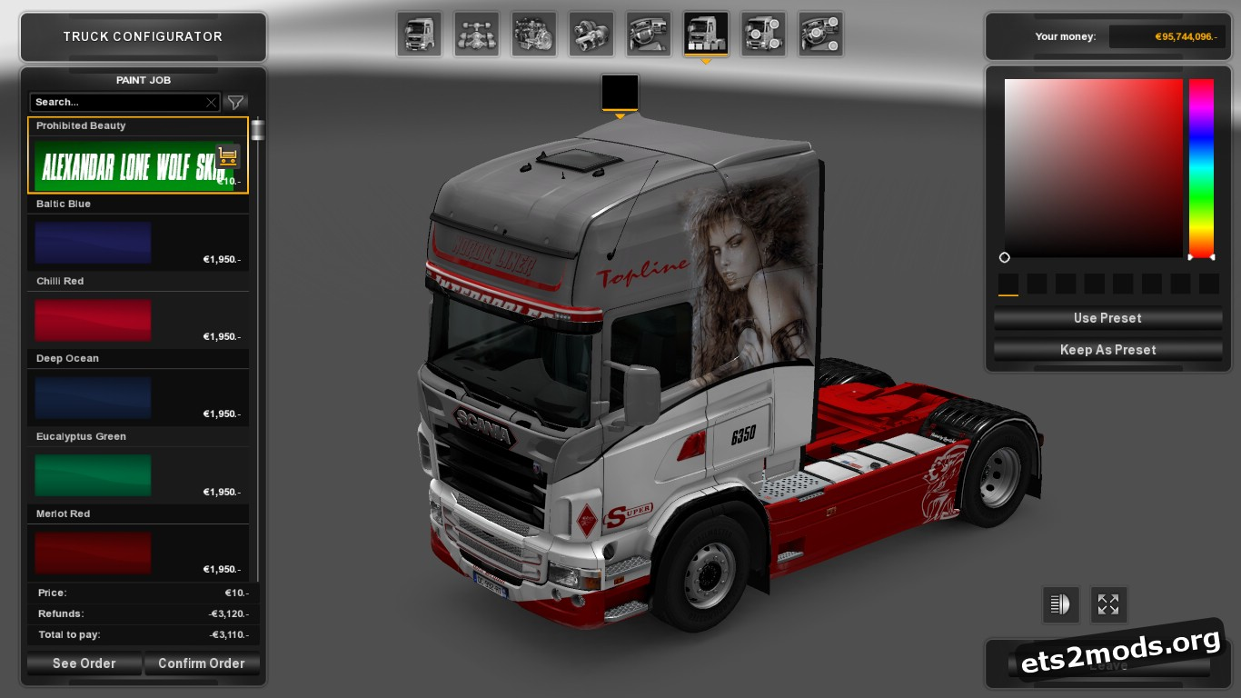 Prohibited Beauty Skin for Scania RJL