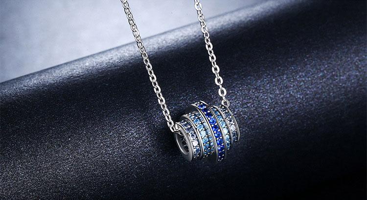 天藍之心 925純銀鋯石鍊墜