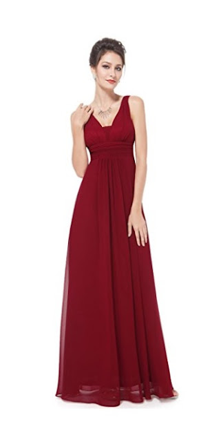 Red V-Neck Ruched Waist Long Evening Dress - red prom dress 2018