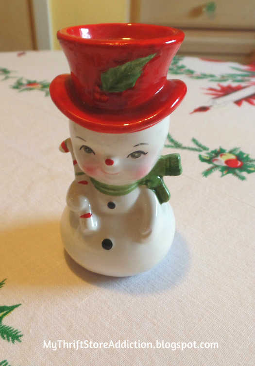 Friday's Find: A Snowman Tea for Two mythriftstoreaddictionth thrift store finds like this cute vintage snowman.blogspot.com A snowman tea party tablescape created wi