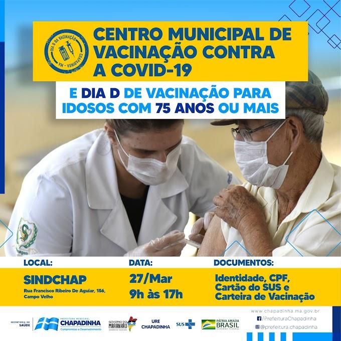 A Prefeitura de Chapadinha através da Secretaria de Saúde implanta o Centro de Vacinação contra a Covid-19.