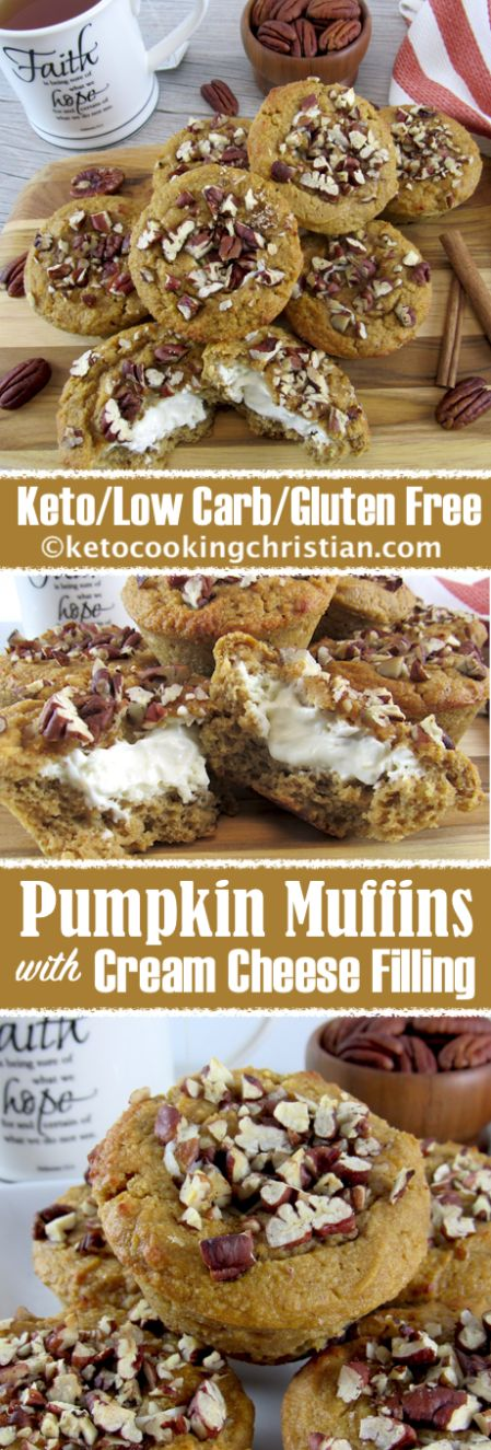 Keto Pumpkin Muffins with Cream Cheese Filling  #Keto #lowcarb #breakfast