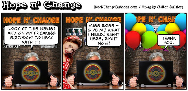obama, obama jokes, political, humor, cartoon, conservative, hope n' change, hope and change, stilton jarlsberg, birthday