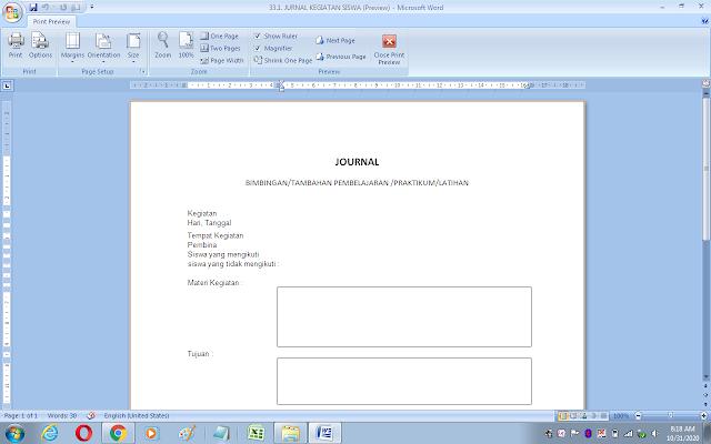 Contoh jurnal kegiatan siswa dan guru sekolah/madrasah