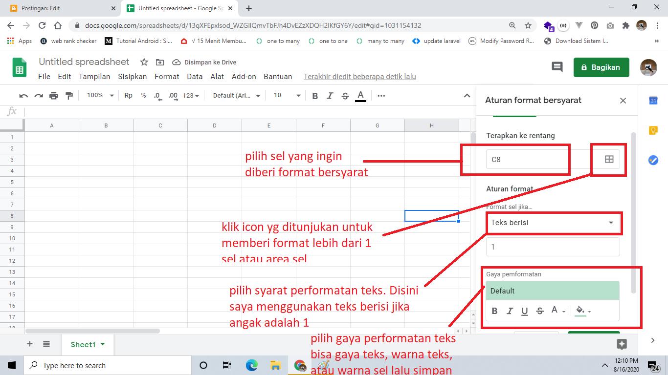 formatbersyarat pada google spreadsheet