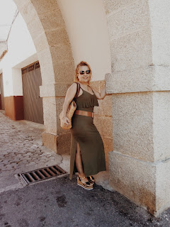 MILITARY GREEN DRESS & BRONZE WEDGES