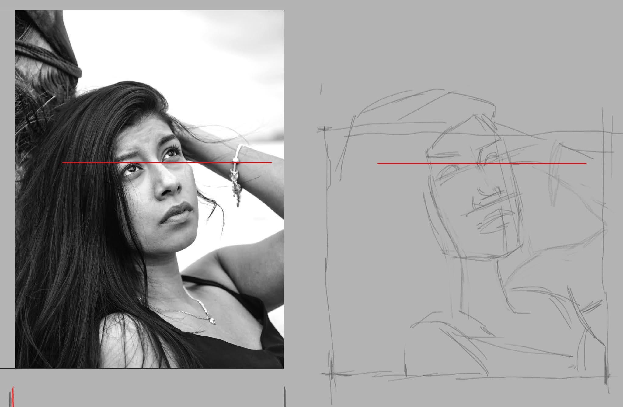Controllo allineamento del disegno degli occhi tramite l'uso di una linea orizzontale.
