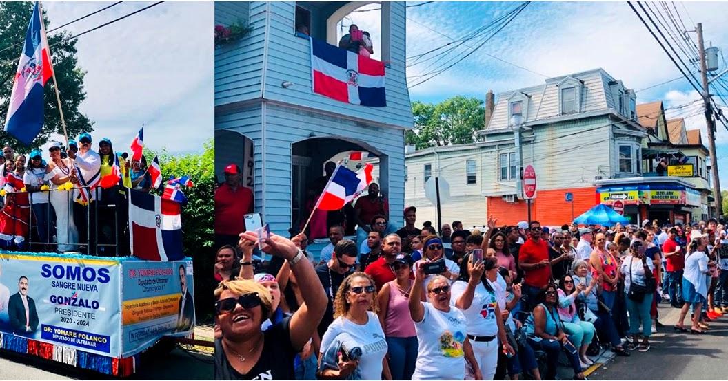 Carroza del Triunfo Sangre Nueva Gonzalo 2020 recibe masivo apoyo en desfile dominicano de Nueva Jersey