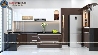 mẫu tủ bếp màu nâu trắng acrylic