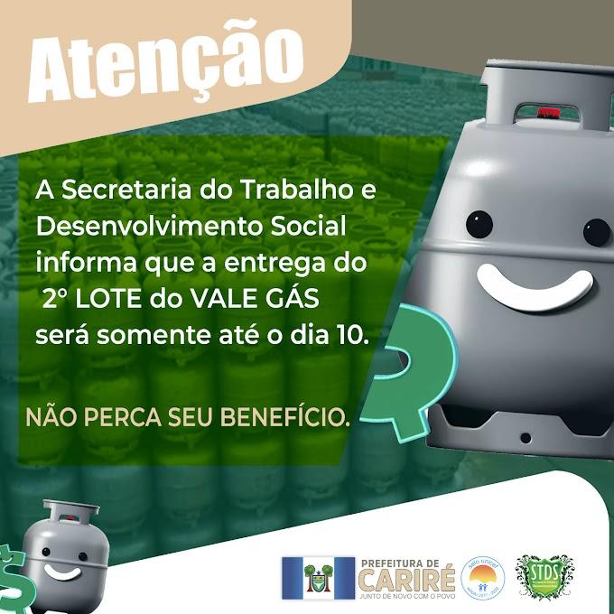 Ação Social de Cariré avisa que a entrega do 2º Lote do Vale Gás será somente até dia 10 de junho