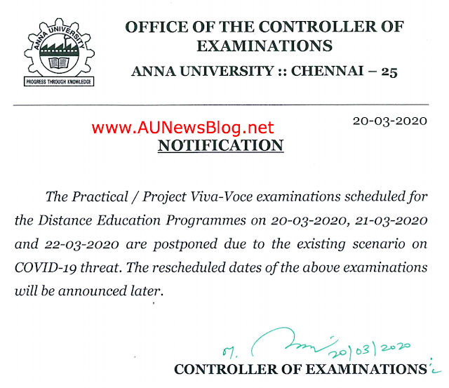 Anna University Postponed Distance Education Practical/Project Exams (Due to Corona Threat)