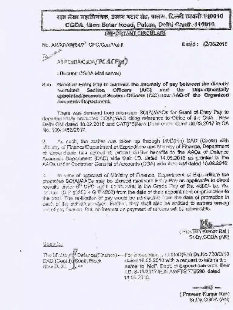 Pay Anomaly : Grant of entry pay to the promotee SO(A)/ AAO as applicable to direct recruits under 6th CPC w.e.f. 01.01.2006 in the G.Pay of Rs. 4800/-