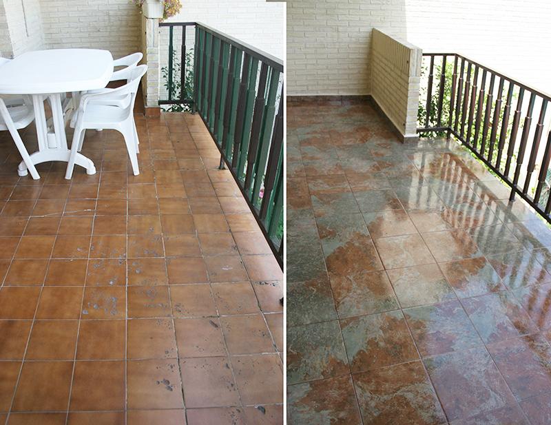 Antes y despus de nuestra terraza Cmo embaldosar un suelo