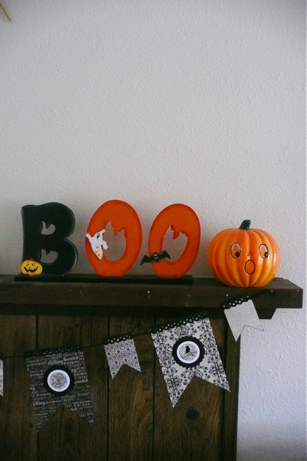 style, design, styled surface, surface, mantle, BOO, Halloween, vintage, vintage pumpkin, My Mind's Eye paper banner