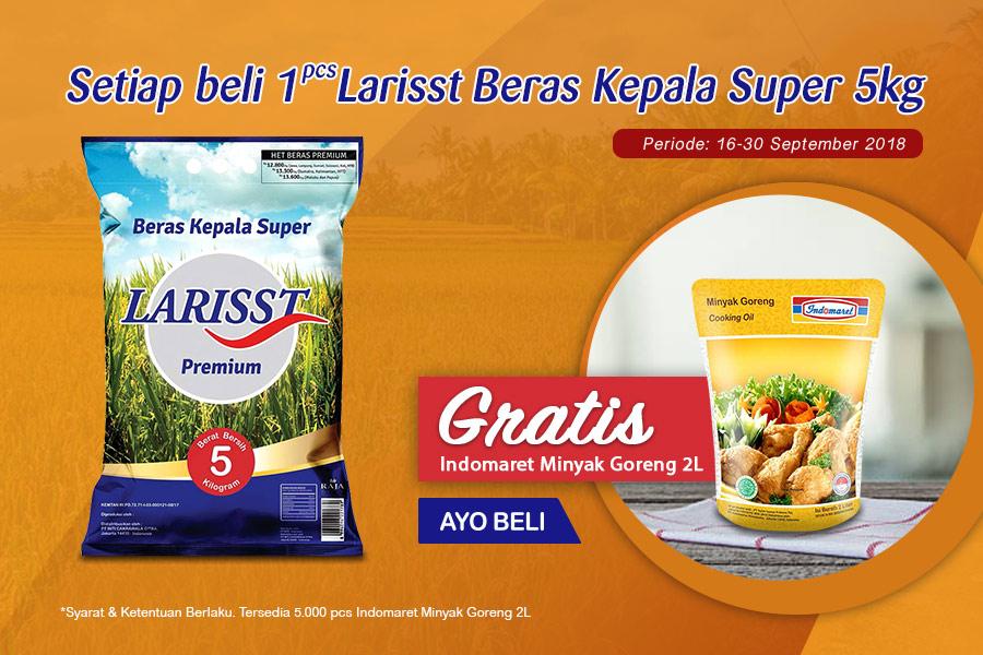 Indomaret - Promo di KlikIndomaret Beli 1 Larisst Beras Super 5 kg Gratis 2 L Minyak