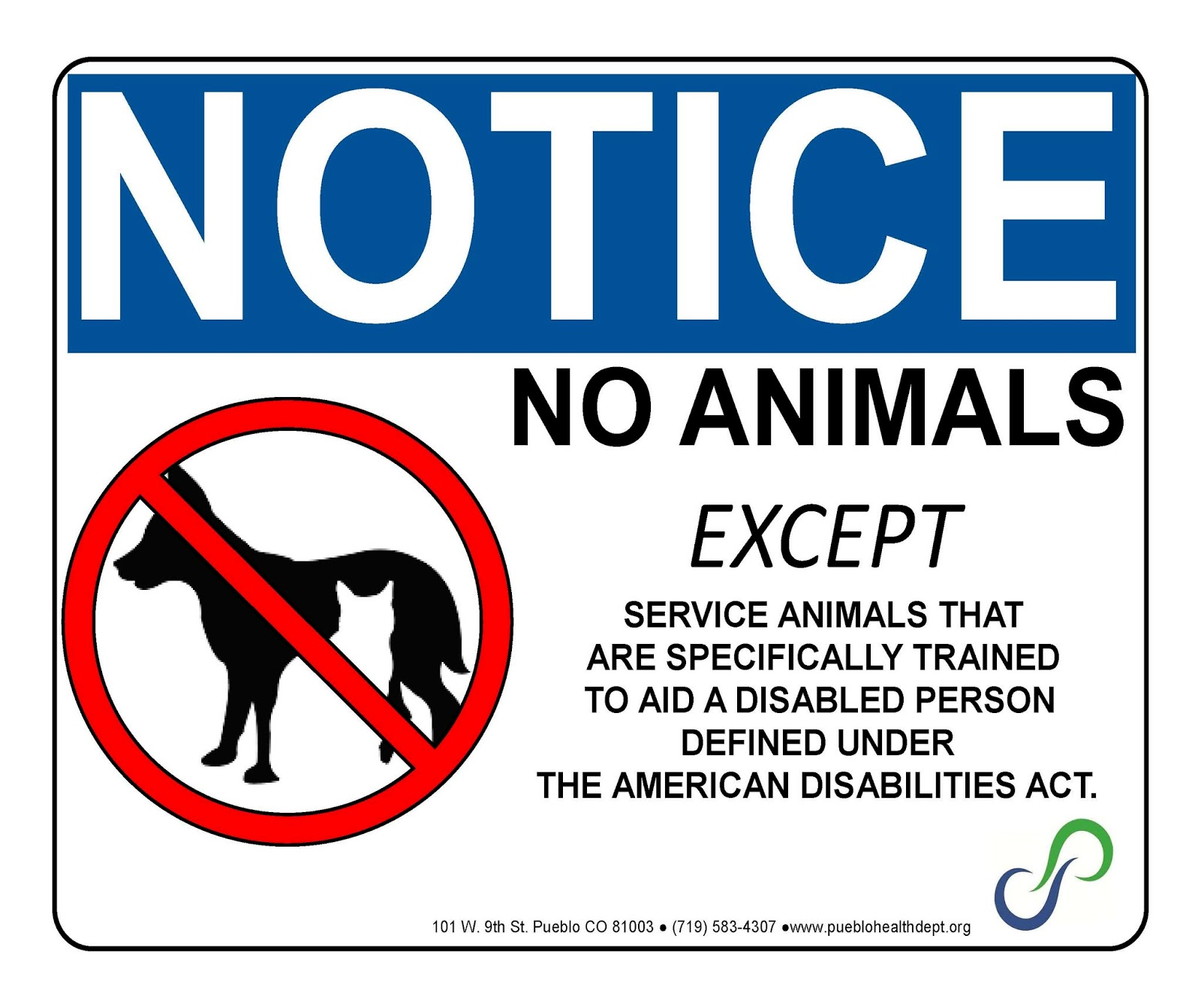 picture about No Pets Allowed Except Service Animals Sign Printable identify The Dish of Pueblo: Assistance Animal