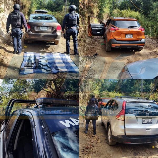 En Zinapécuaro, Michoacán se registró un enfrentamiento entre Policías y Sicarios, los Sicarios corrieron y abandonaron los vehiculos