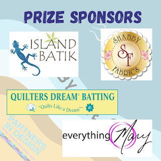 Prize sponsors for the quilt-a-long include Island Batik, Quilters Dream Batting, Everything Mary, and Shabby Fabrics