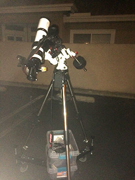 Wheeled out the tripod with piggyback camera attached (Source: Palmia Observatory)