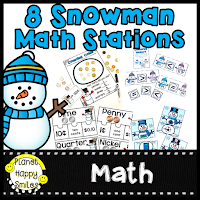 Snowman Math Stations, Winter Math Stations, Planet Happy Smiles