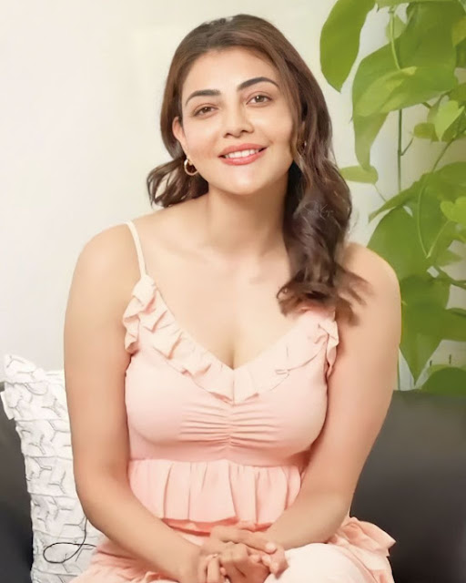 Kajal Aggarwal Latest Photos in Light Pink Dress Navel Queens