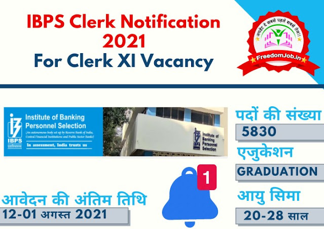 IBPS Clerk Notification 2021-For Clerk XI Vacancy 5830 Posts
