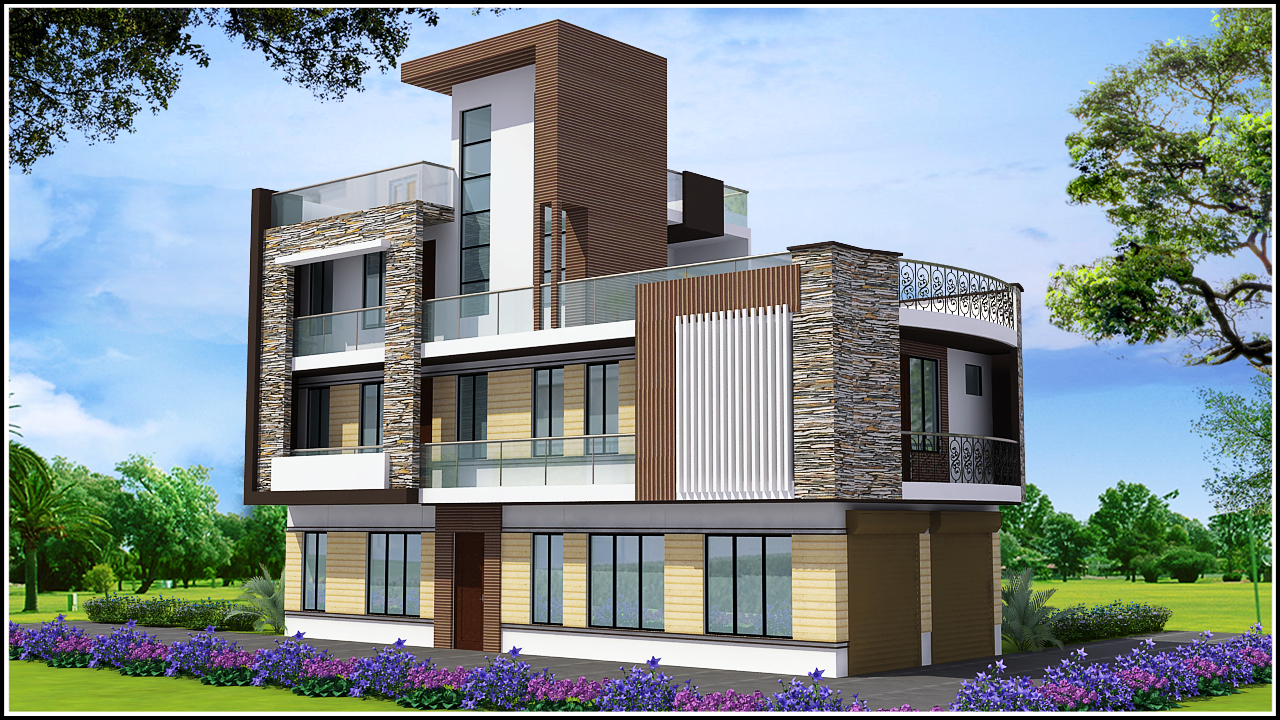 Ghar planner leading house plan and house design for Triplex designs