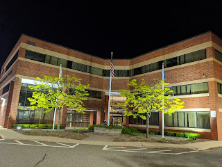 Franklin Municipal Building at night