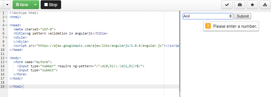 email, number ng-pattern validation in angularjs - Angular