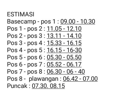 estimasi waktu pendakian gunung slamet