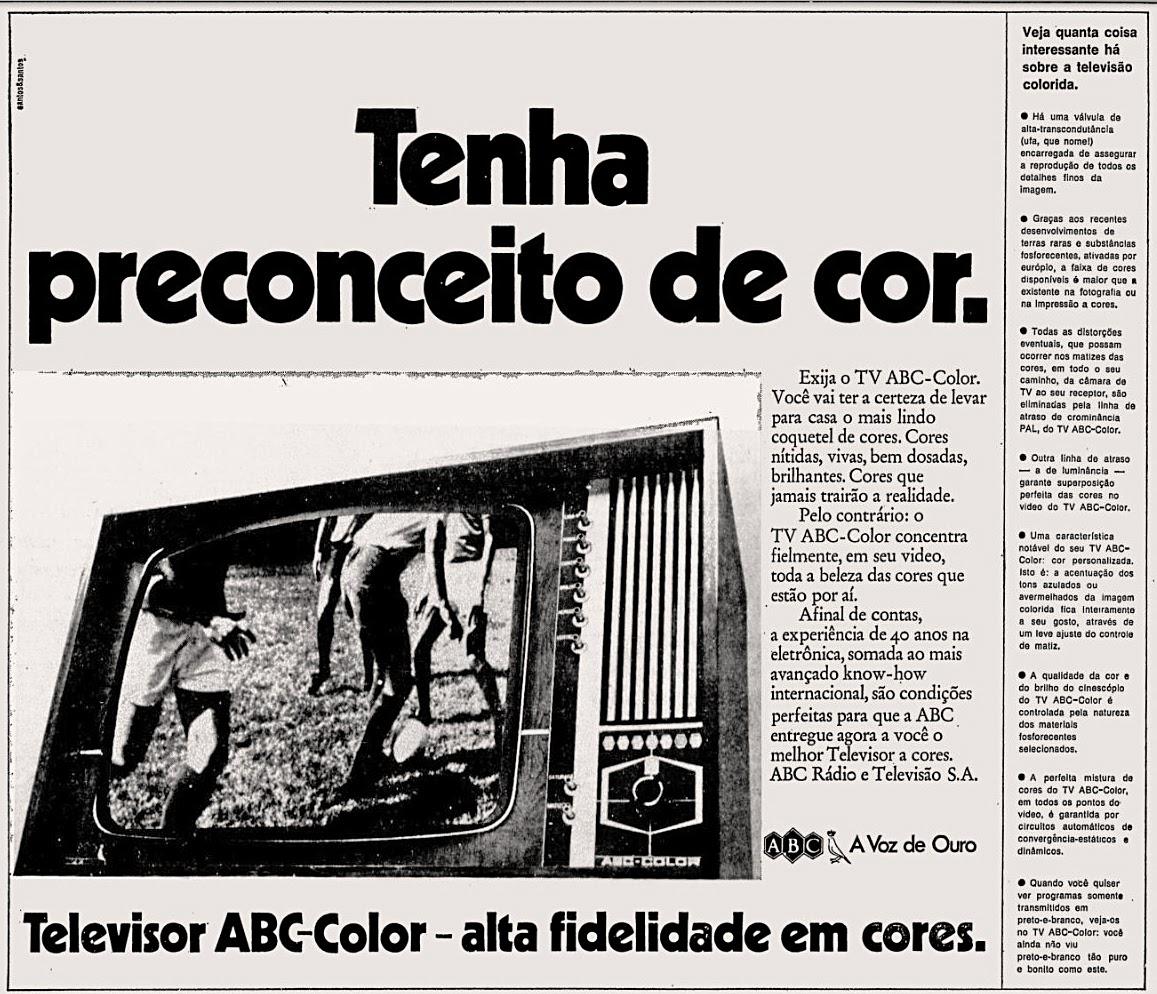 Propaganda antiga do televisor colorido ABC color veiculada em 1972