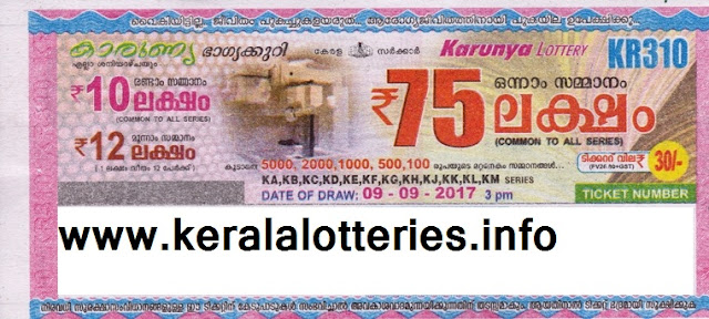 Kerala Lottery of Karunya (KN-310) on 09 September 2017