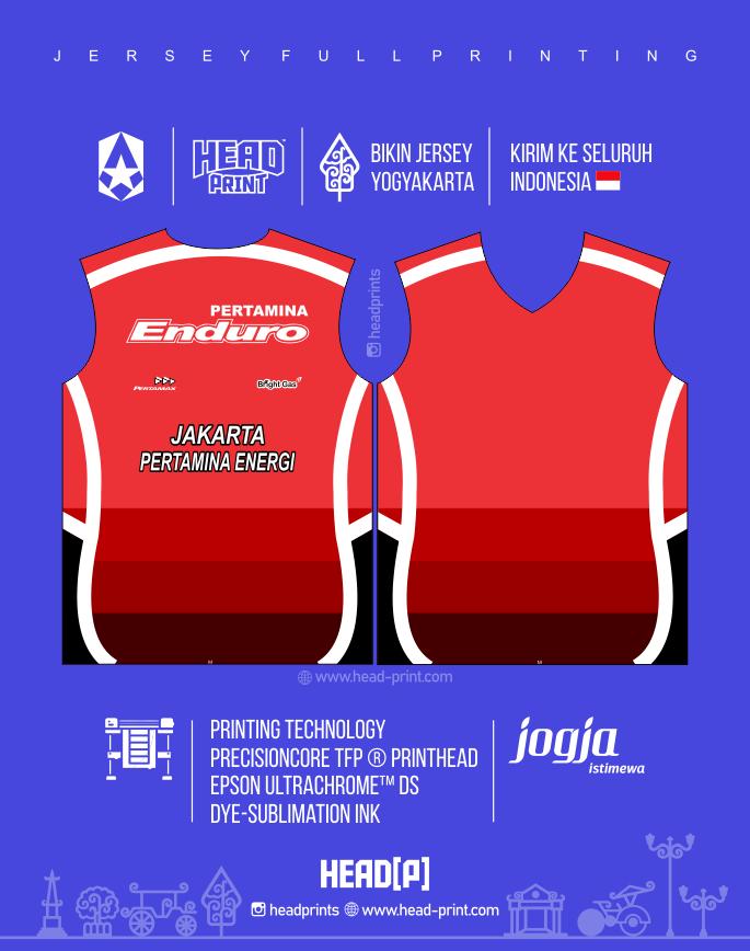 Red Enduro Jersey Voly Volley Contoh Desain Jersey Voly - Badminton Jersey - Futsal Jersey - Headprint Yogyakarta