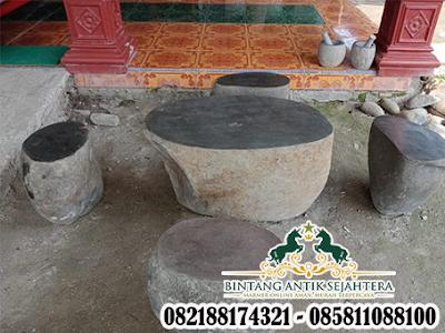 Contoh Meja Batu Kali, Meja Taman Batu Alam, Dekorasi Taman Batu Kali
