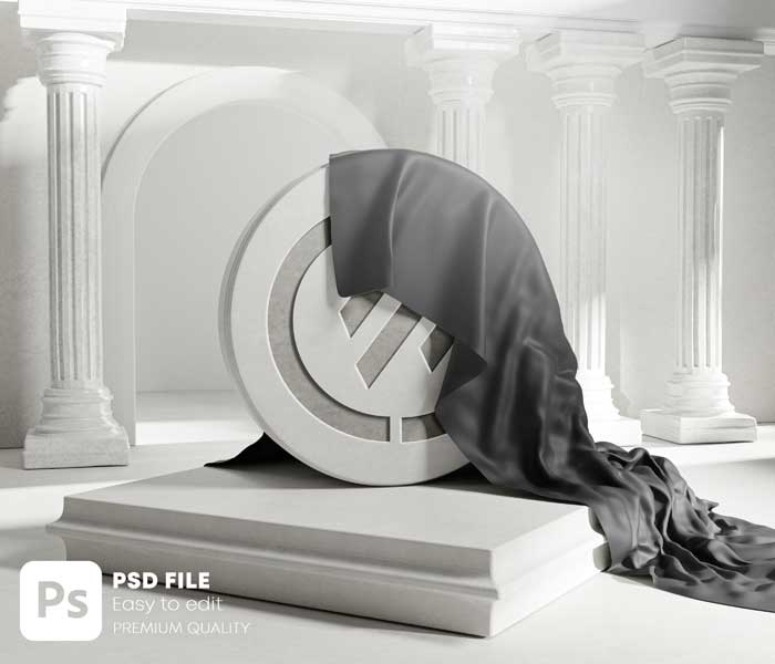 Black Cloth Cover From Round Stone Classic Carved Logo