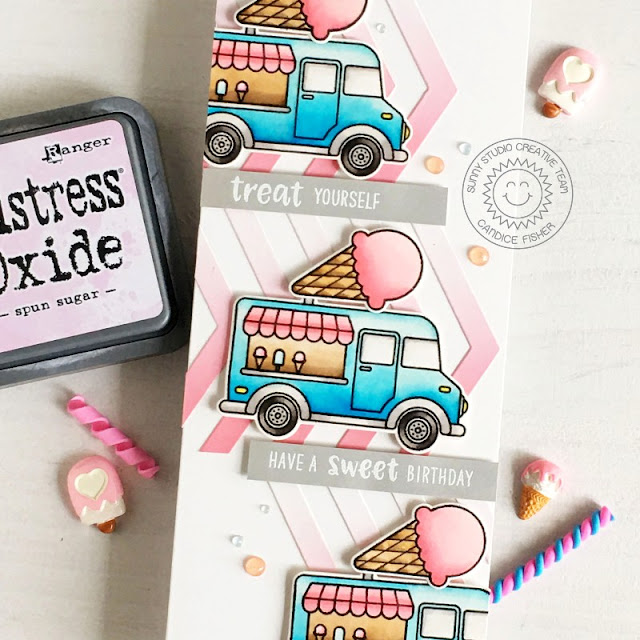Sunny Studio Stamps: Crusin' Cuisine Sealiously Sweet Frilly Frame Dies Birthday Card by Candice Fisher