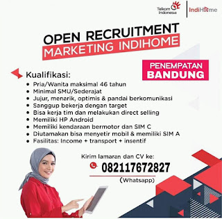 Loker Marketing Indihome di Bandung Agustus 2020
