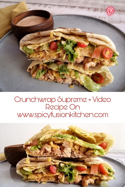 Crunchwrap Supreme Recipe, crunchwrap supreme, taco bell, home-made crunchwrap supreme, mexican crema, mexican crema recipe, chicken recipe, recipe, food, food blogger, food photography, food stylist, food flatlay, @ home warehouse, mr price home, spicy fusion kitchen, botswana, pinterest, pinterest food