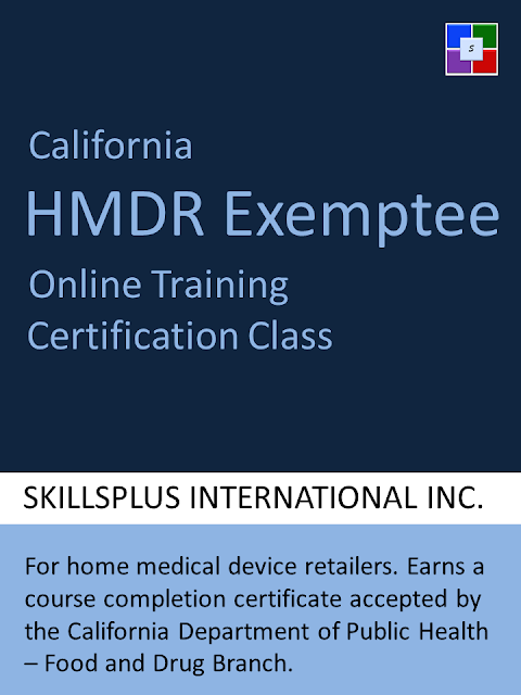 California Exemptee Training Certification Course - an online training class for home medical device retailers.