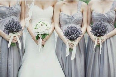 lavander bouquets + dusty blue + bridesmaids