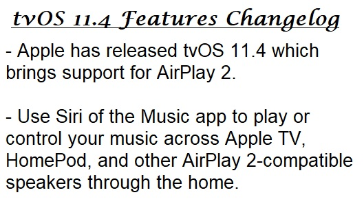 tvOS 11.4 Features Changelog