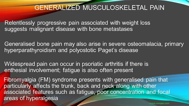 What are the causes of generalized musculoskeletal pain?