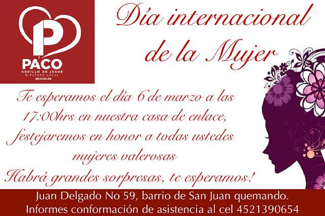Paco Cedillo invita a festejar el Día Internacional De Las Mujeres