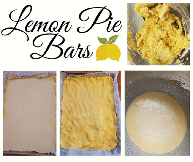 this is collage on how to make Cake Mix Lemon Pie Cheesecake Bars